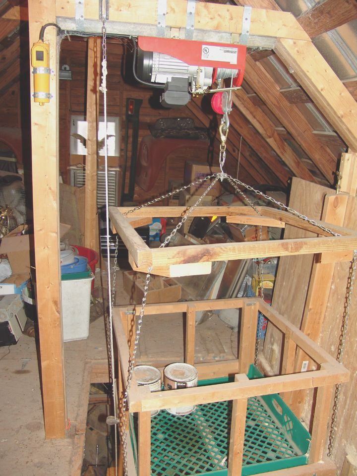 Hoisting tools to the attic the garage journal board for Diy home elevator plans