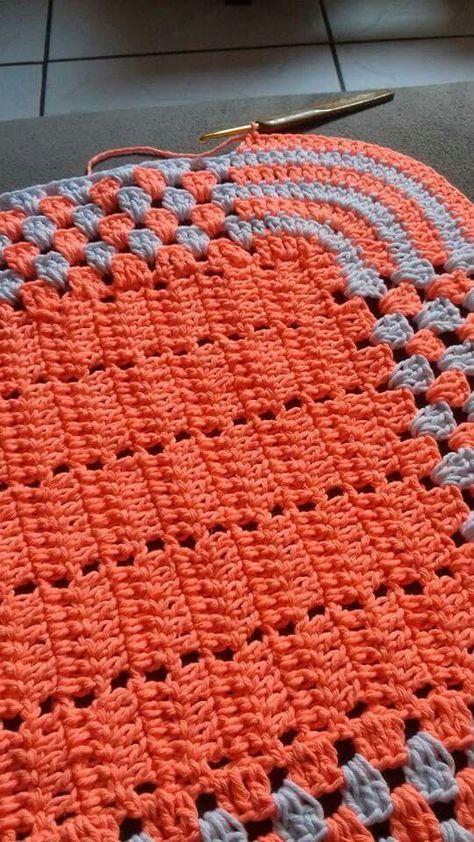 Tapete Retangular Crochê Barbante Verde E Vermelho R 3990