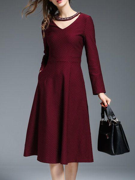 Shop Midi Dresses - Cotton-blend Polka Dots Elegant Long Sleeve Midi Dress online. Discover unique designers fashion at StyleWe.com.