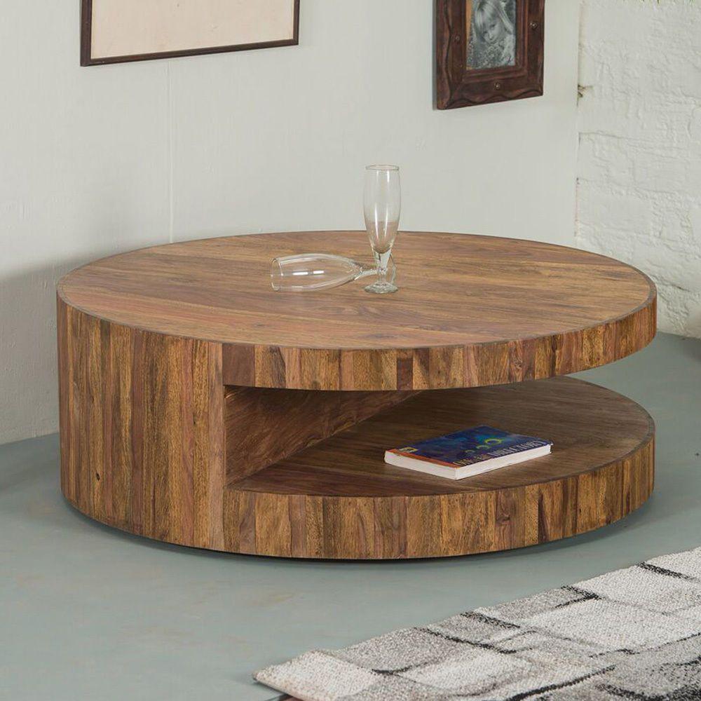 Runder Couchtisch Skivor Design Tisch Rund Sheesham Holz Im Stone