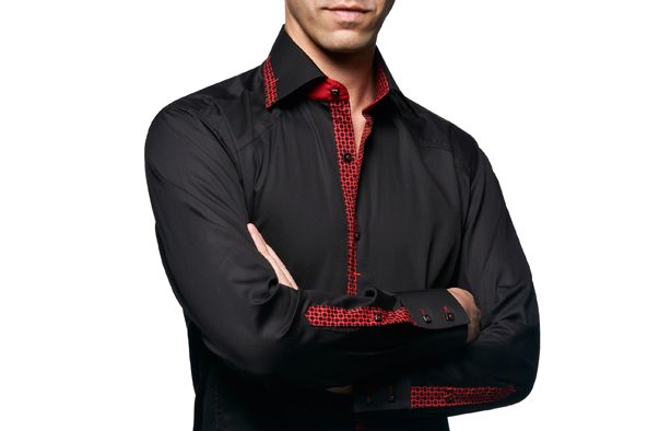 931b49cbfb55 Black Shirt Tropez Red Patterns Lining, Waisted-fit - Dress Shirts for Men  - French-Shirts.com