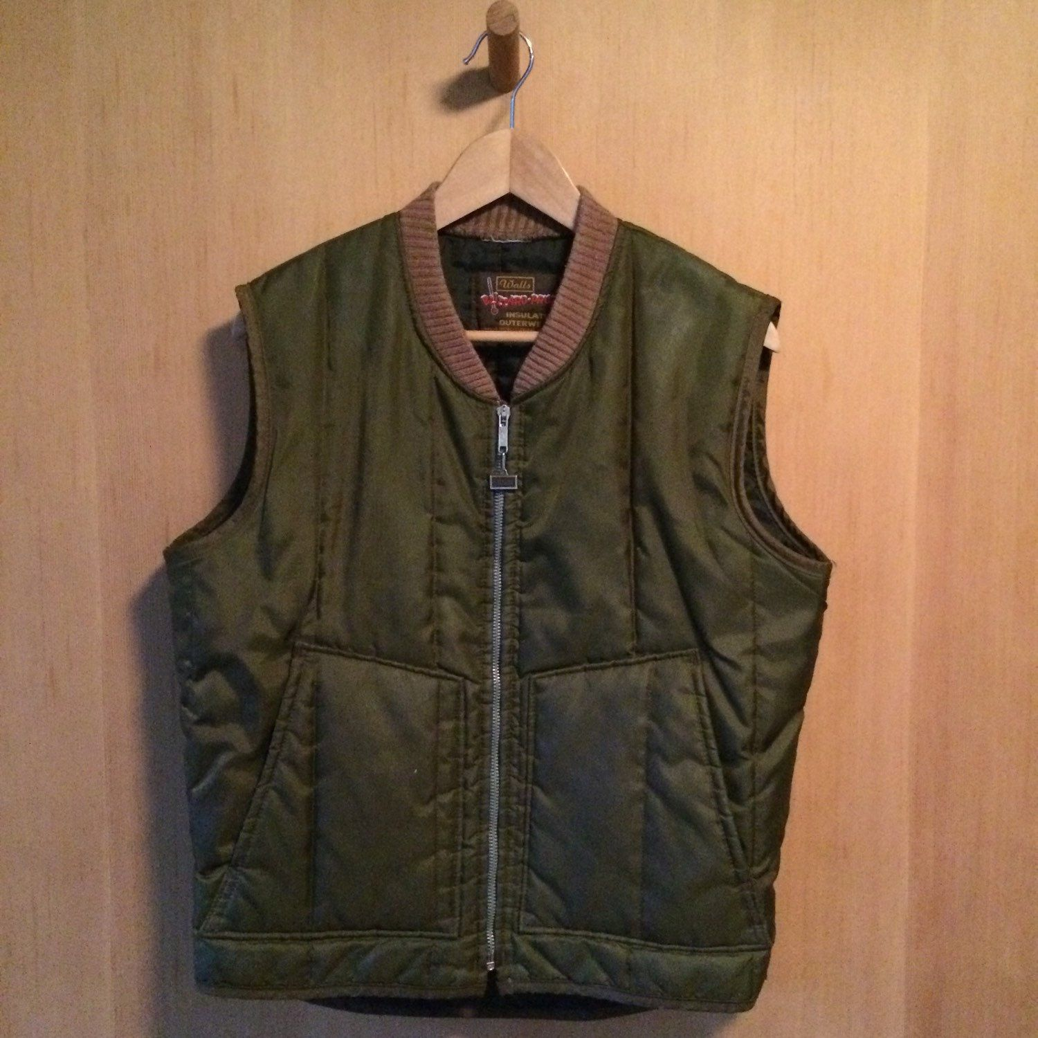Vintage Wall Outerwear Quilted Green Vest Mens By Thedarkcontinent