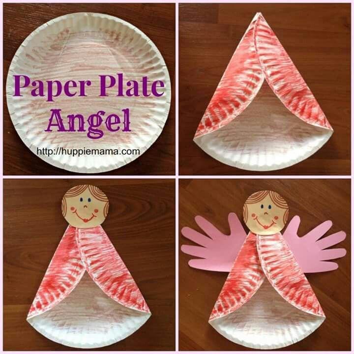 Arts And Crafts For Christmas Ideas Part - 36: Angel En Plato De Carton. Fall Kid CraftsKids CraftsChristmas ...