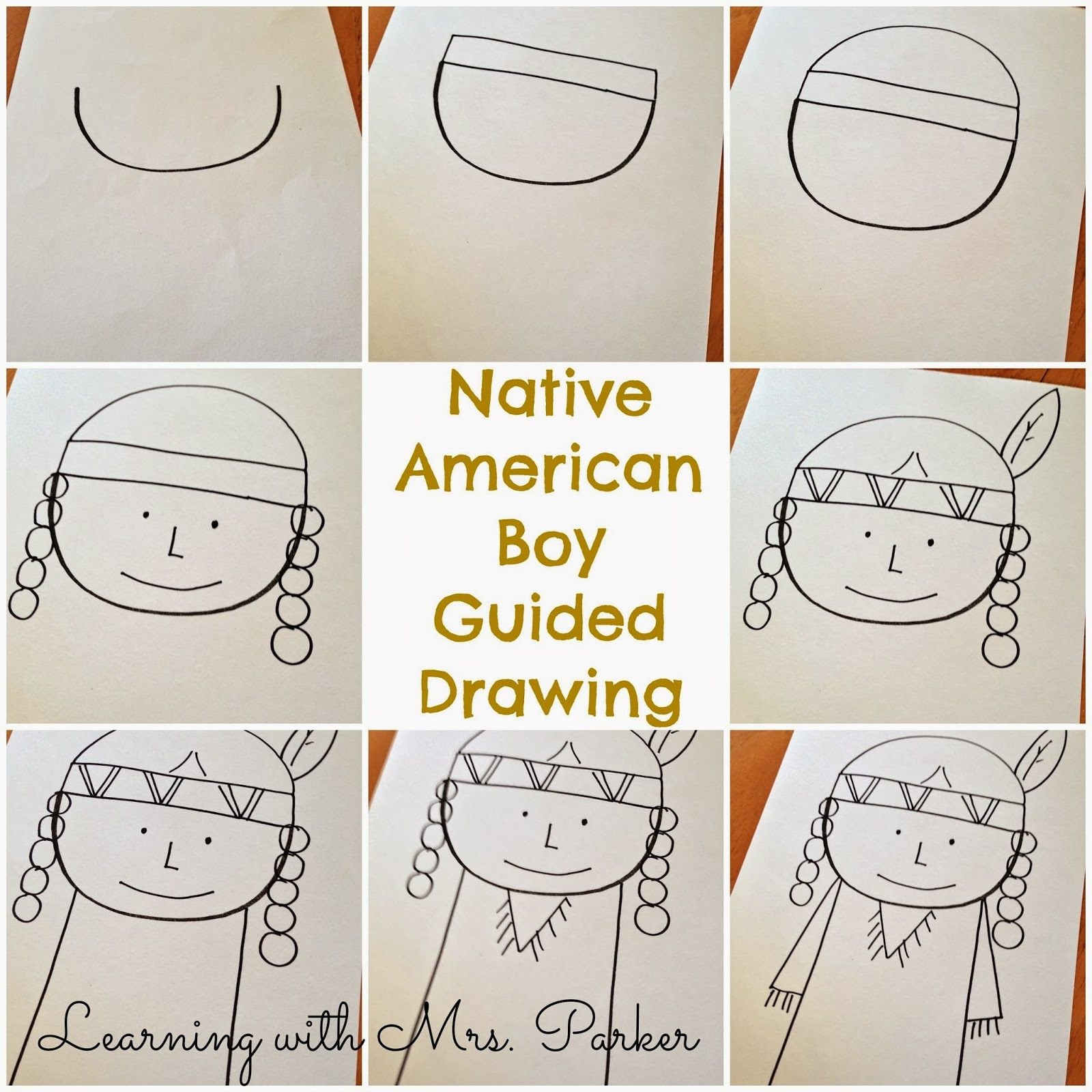 A Step By Visual Guide Of How To Draw Pilgrim Boy And Girl As Well Native American