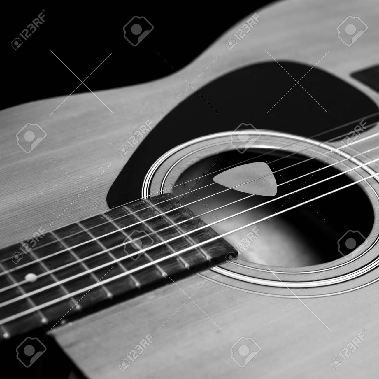 Detail Of Acoustic Guitar With Black And White Filter Effect Ad Guitar Acoustic Detail Black Effect Acoustic Guitar Guitar Acoustic