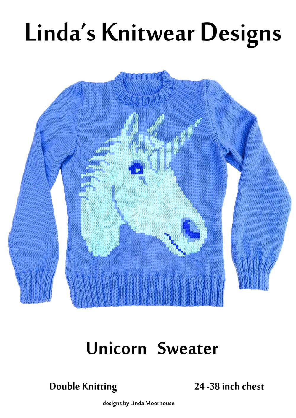 cb6c89019 Unicorn motif sweater knitting pattern - PDF download - Children s ...