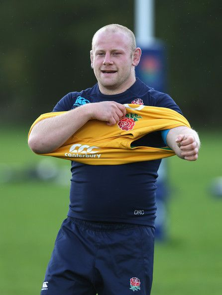 Dan Cole Photos Photos - Dan Cole looks on during the England training session held at West Park Leeds Rugby Club on October 23, 2013 in Leeds, England. - England Training Session