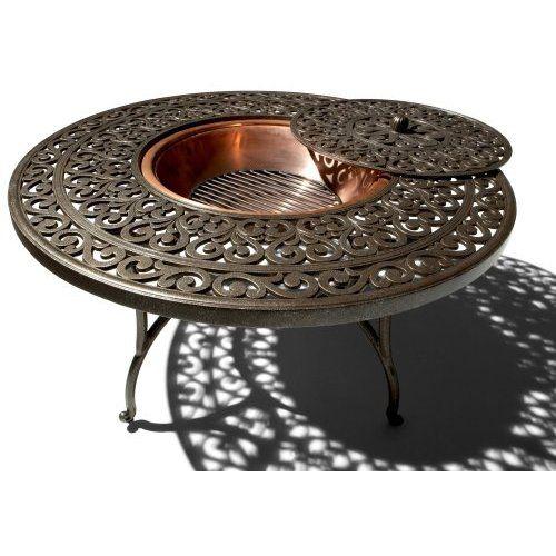 Amazon.com: Strathwood St. Thomas Cast-Aluminum Fire Pit with Table: Patio, Lawn & Garden