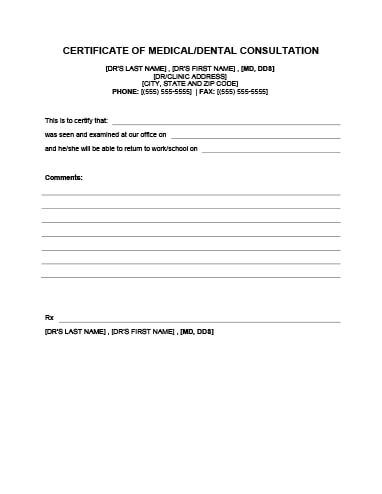 Download Free Template | Doctors note template, Dr note ...