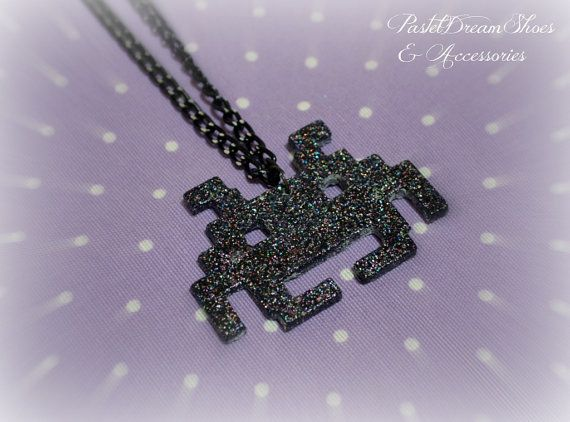 space invader NecklaceFairy Kei Pastel Goth by PastelDreamShoes