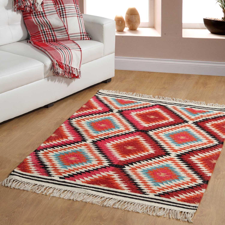 Handmade-Multi-Coloured-Kilim-Rugs-Handwoven-Geometric-Pattern-Rug-Wool-amp-Cotton