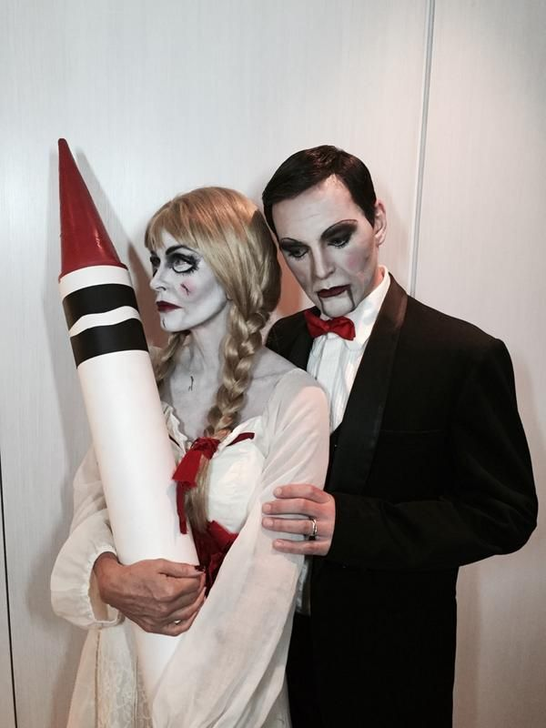 courtney cox and johnny mcdaid attend halloween bash as killer doll and evil puppet independent
