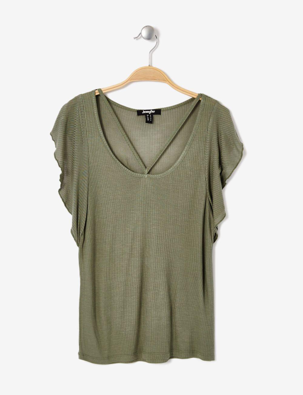 Tee-shirt avec volants côtés kaki clair femme • Jennyfer