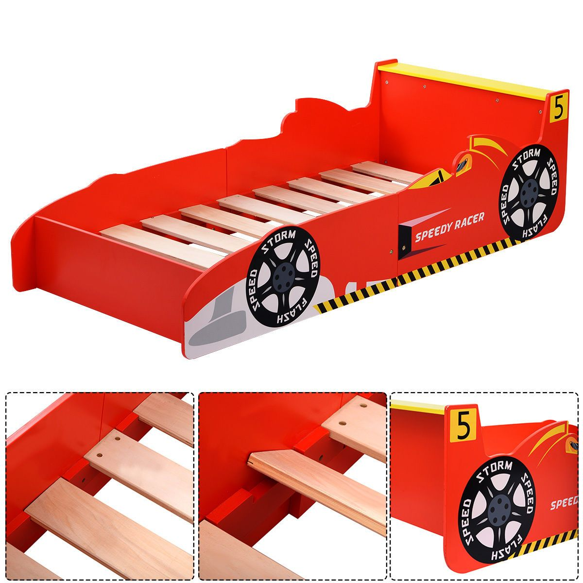 Kids Race Car Bed Toddler Bed Boys Child Furniture Bedroom Red