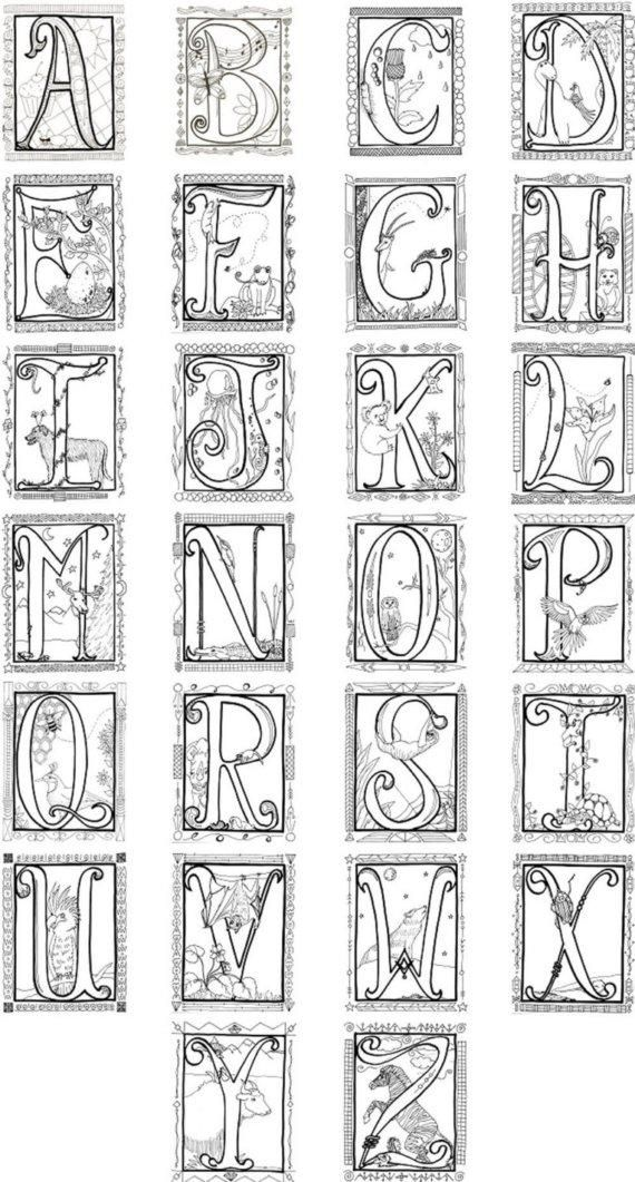 illuminated alphabet coloring pages free - photo#4