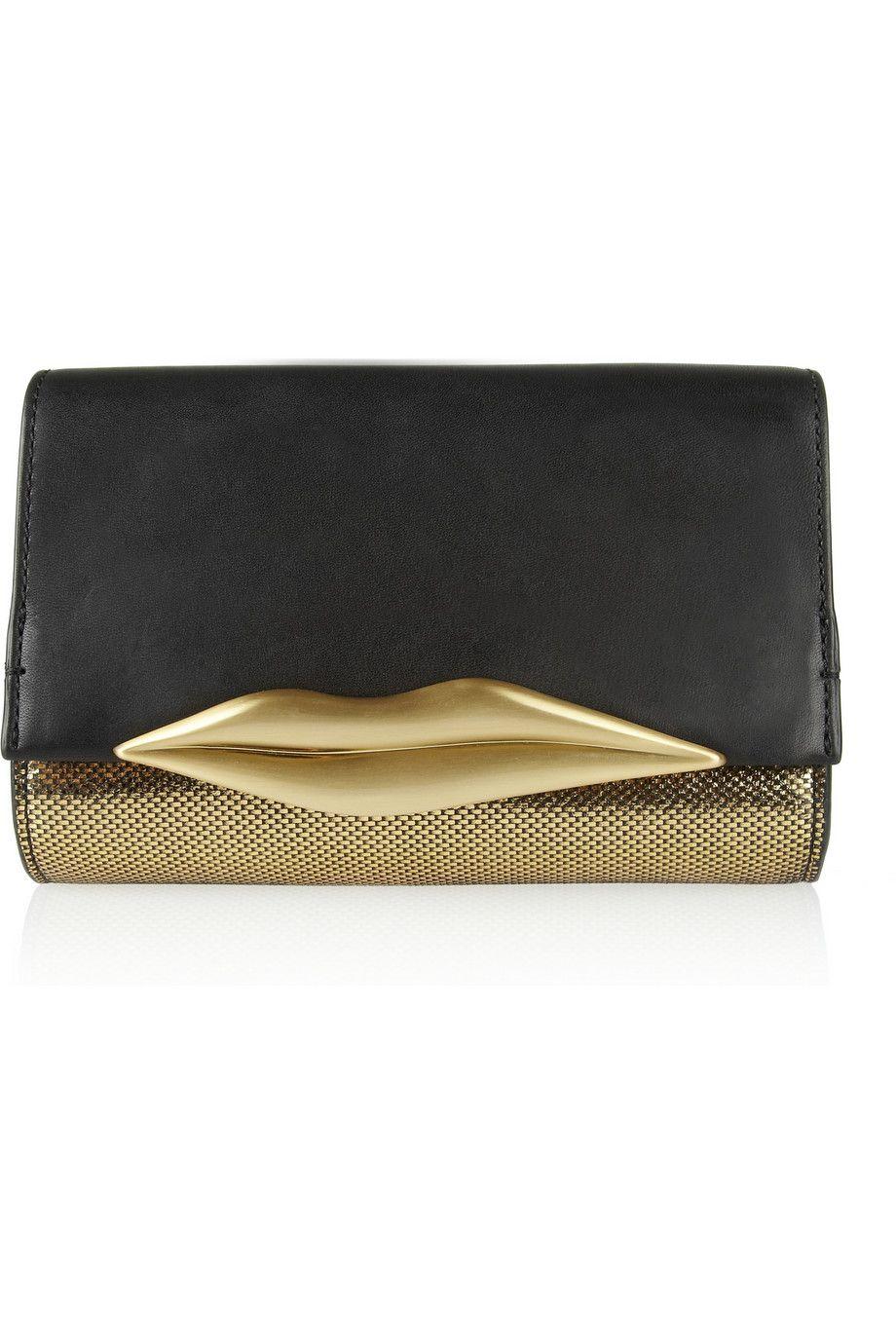 1b65076eda4 Diane von Furstenberg Lips embellished leather clutch #NET-A-PORTER ...