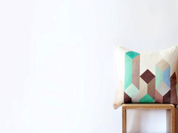 Geometric Decorative Pillow Cover Multicolor Throw Etsy Geometric Pillow Geometric Cushions Geometric Decorative Pillows