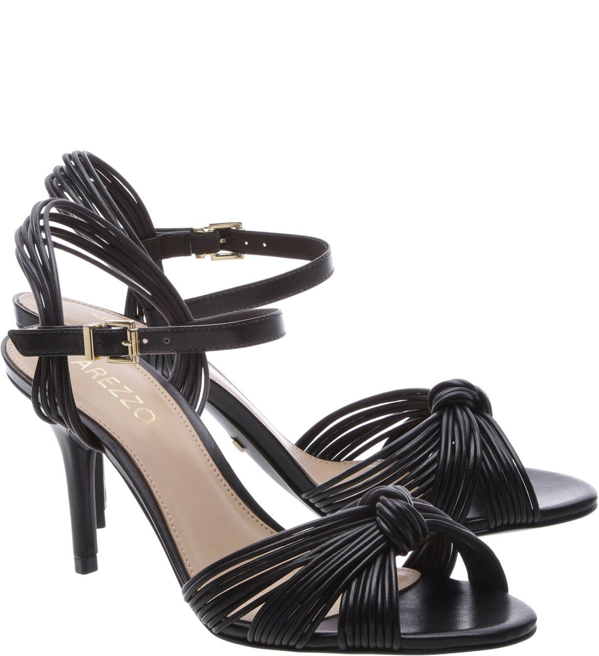 Sandália Tiras Salto Médio Preto | Arezzo | Shoes, Footwear