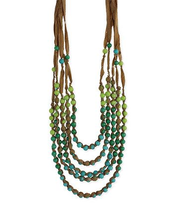 Blue & Green Bead Ribbon Necklace