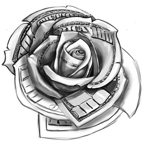 Dollar Rose Tattoo Vorlage