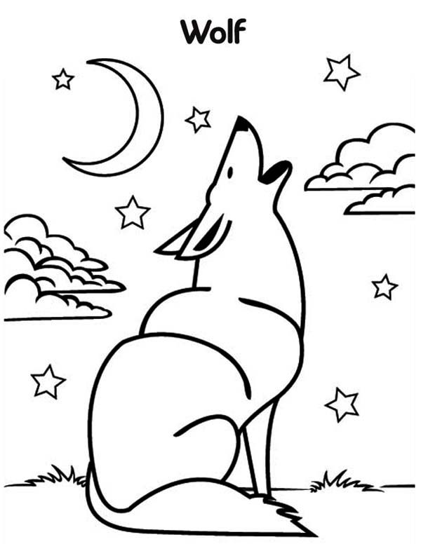 wolf howling at the moon coloring pages | Wolf, Wolf ...