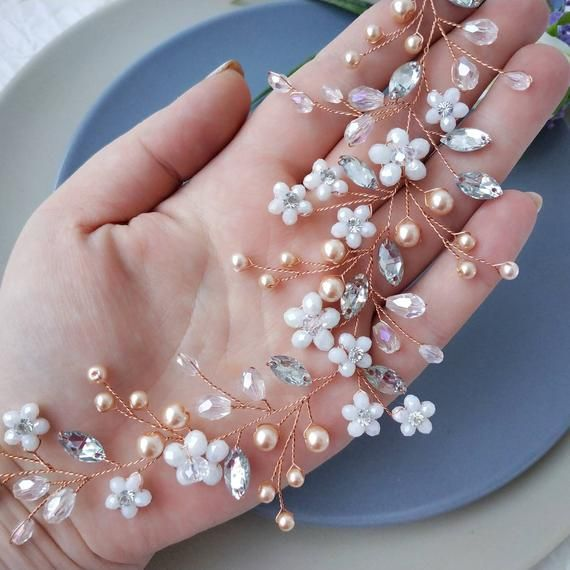 Rose gold bridal hair piece. Flower bridal hair vine. Rose gold pearl headpiece. Rose gold hair vine