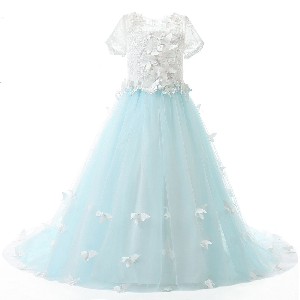 Actual Picture Lace Short Sleeves Ball Gown Flower Girls Dresses ...