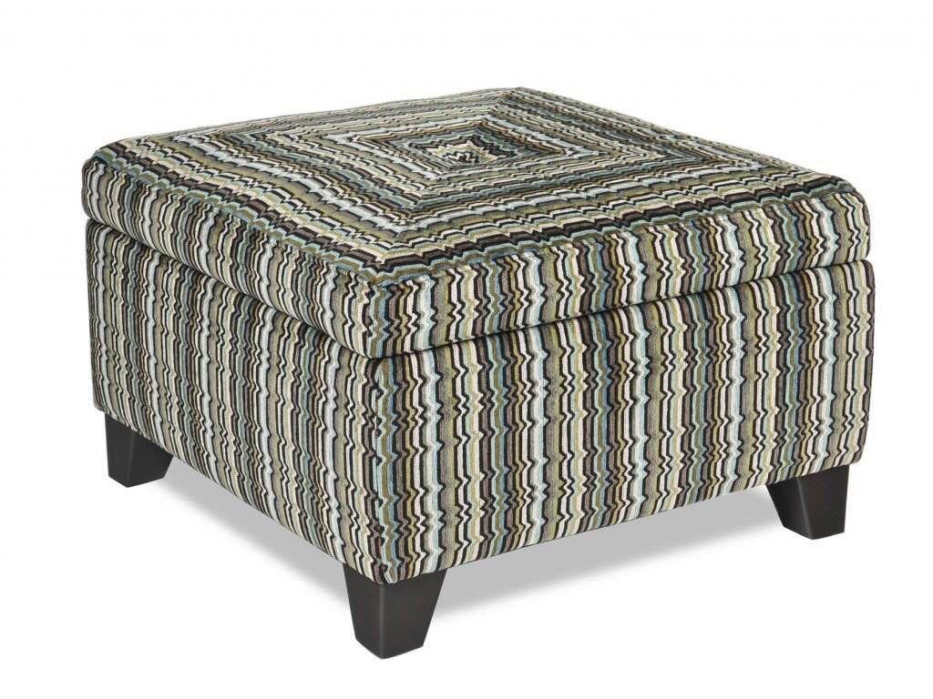 Juno Storage Ottoman (in The Blue Striped Fabric.)
