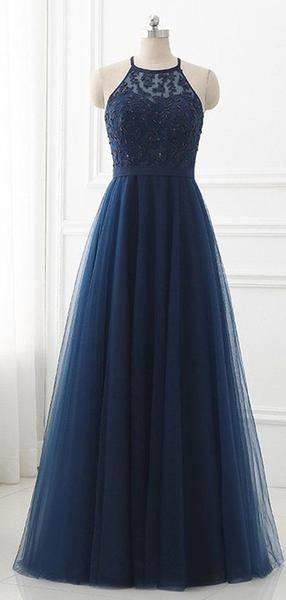 Simple Navy Blue Halfter Eine Linie Tüll Mit Perlen Lange Abendkleider, MD419   – Prom Dresses