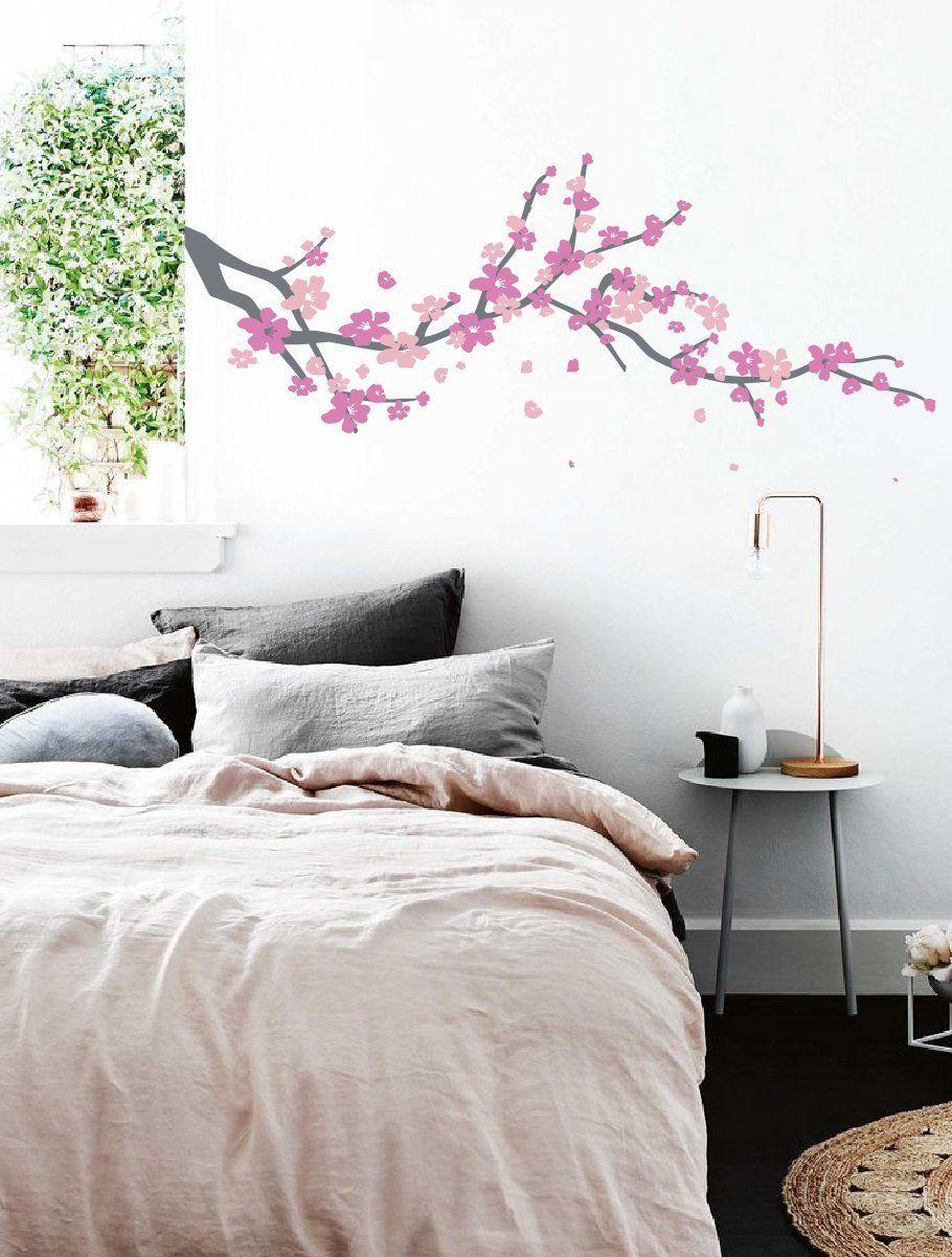 Large Japanese Cherry Blossom Tree Branch Vinyl Decal Wall Sticker For Girls Flowery Room Decor G Girls Wall Stickers Vinyl Wall Decals Cherry Blossom Nursery