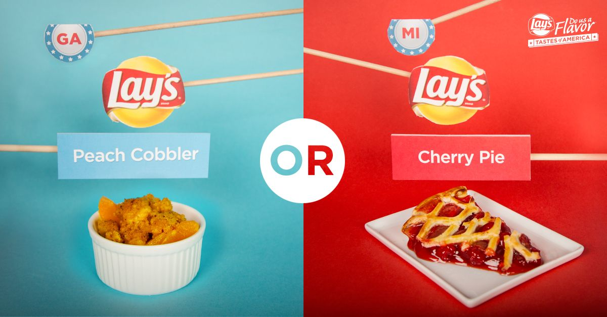 Whether you love a tasty slice of pie or a yummy cobbler, there are tons of desserts to choose from. Your favorite sweet flavors could be the next Lay's chip. Submit them for a chance to win $1 million! See Rules. bit.ly/DoUsAFlavor8