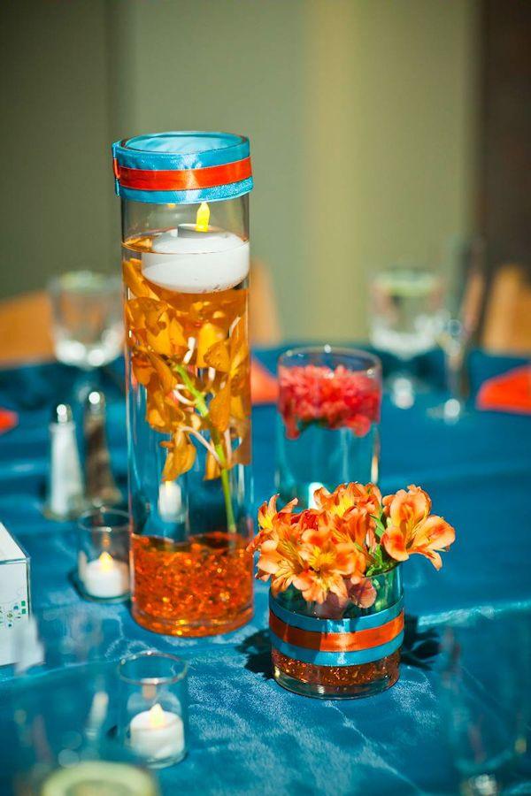 blue and orange wedding centerpieces blue wedding blue wedding flowers floral centerpieces
