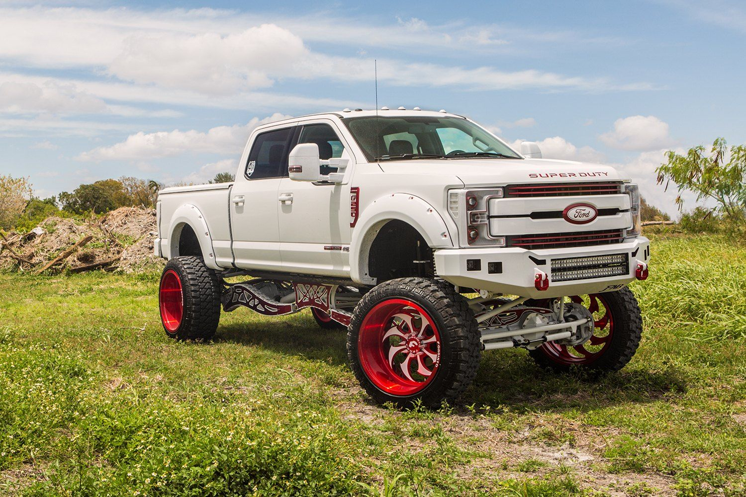 Extravagant custom white lifted ford f250 super duty on