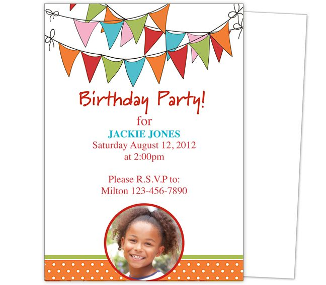 17 Best images about Kids Birthday Party Invitation Templates on – Birthday Party Card Template