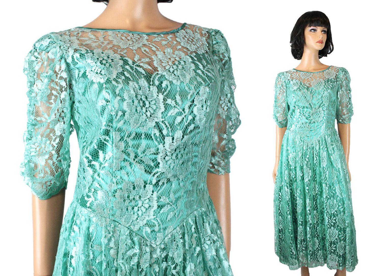 80s Prom Dress Jrs M Vintage Long Aqua Blue Green Shiny Floral Lace ...