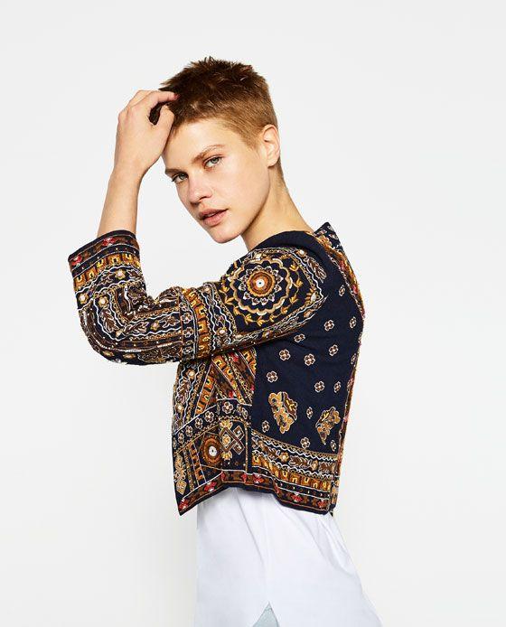 Zara new season ecru ethnic embroidered jacket blazer cardigan boho hippie