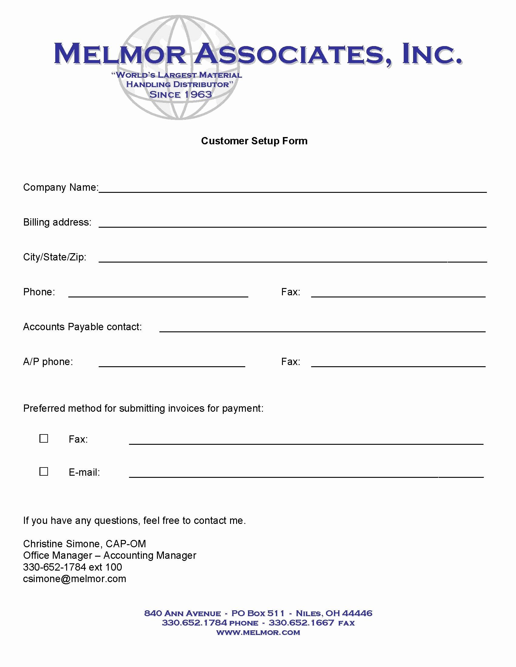 Vendor Setup Form Template Fresh New Accounts Melmor Associates Inc Templates Contract Template Create Flyers