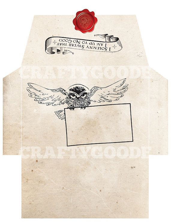 Marvelous Harry Potter Themed Envelope DIY Printable By CraftyGoode