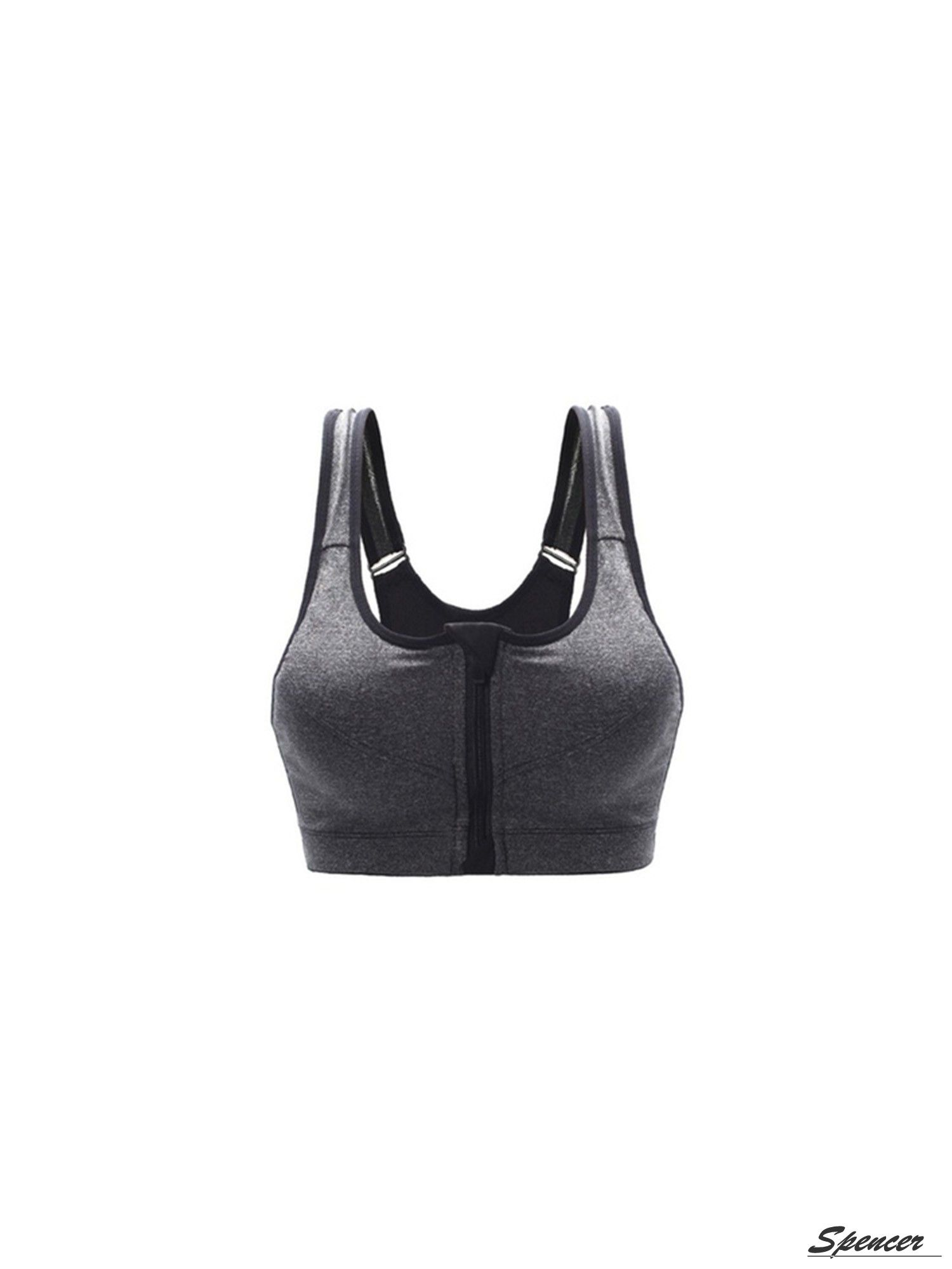 53d55c2b46 Spencer Womens Padded Sports Bra Yoga Front Zip High Impact Bra Seamless  Tank Top Underwear(