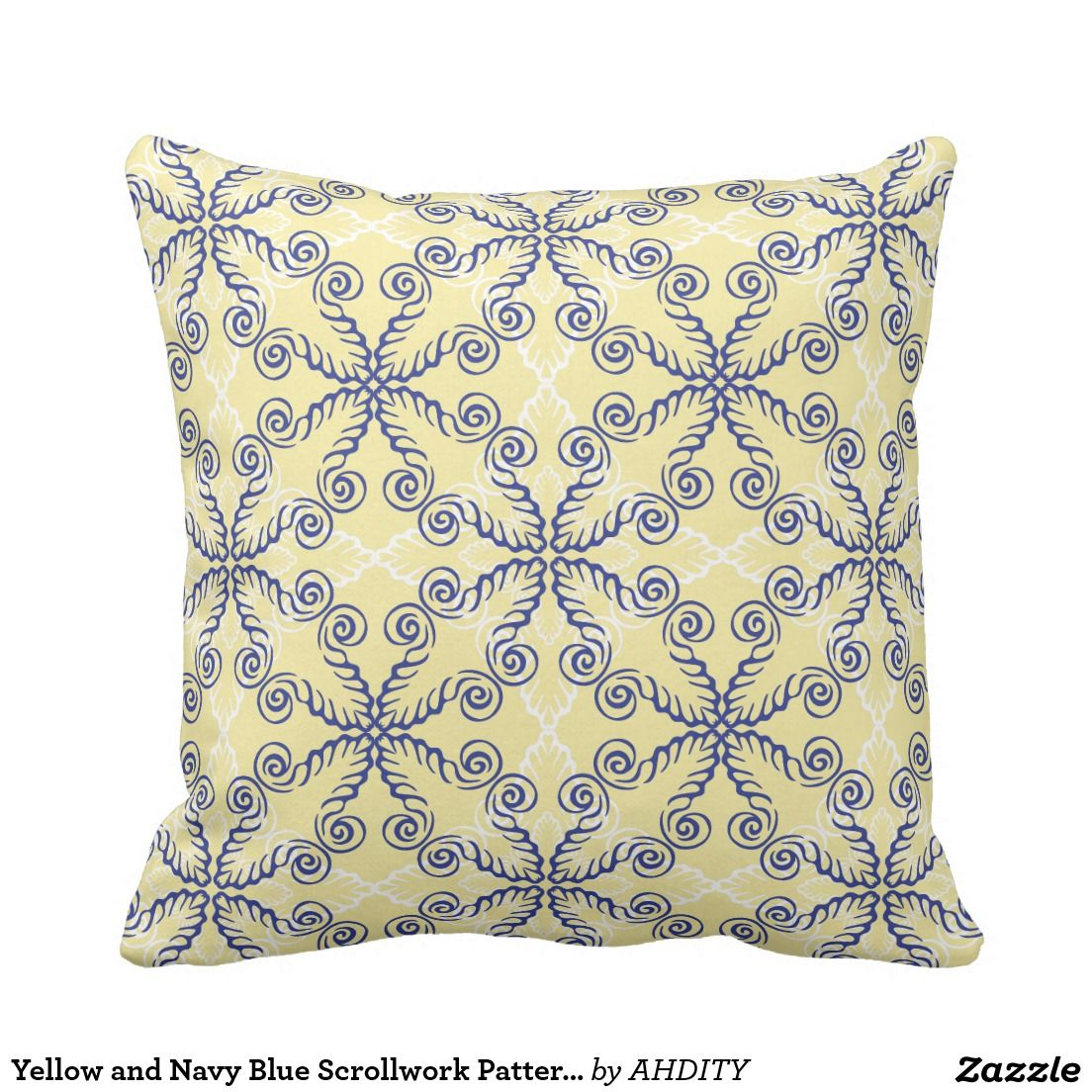 Navy blue and yellow decorative pillows - Yellow And Navy Blue Scrollwork Pattern Pillow