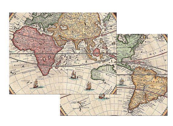 Vintage World Map Placemat Burlap Textured Hemmed Edge Waterproof Wipe Clean Sturdy Flexible Vintage World Maps Placemats Burlap