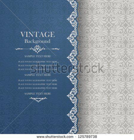 Vintage Background Antique Blue Greeting Card Invitation