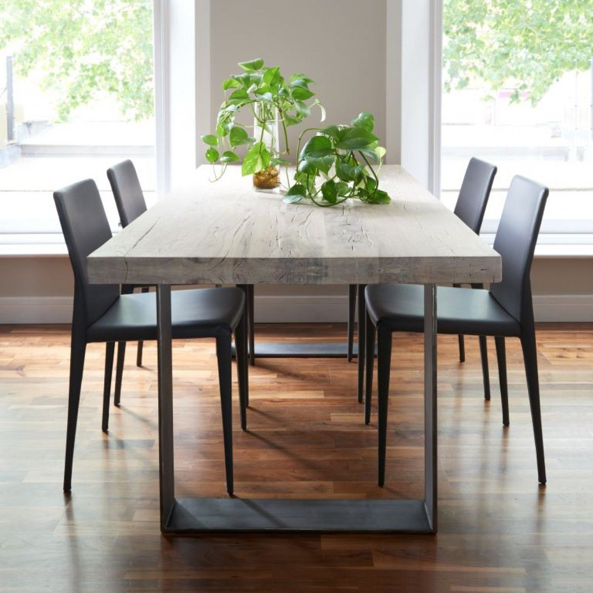 Metal Dinning Table And 4 Solid Wood Chairs Wood Dining Table