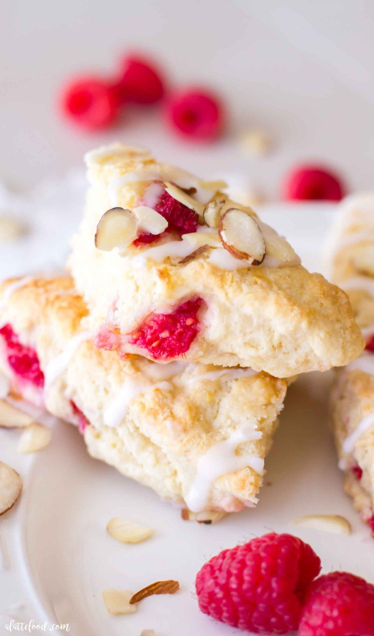 Flaky And Tender Raspberry Cream Scones Are Made With Sour Cream And Butter Making These Raspberry Almond Scon In 2020 Scones Recipe Easy Scone Recipe Homemade Scones