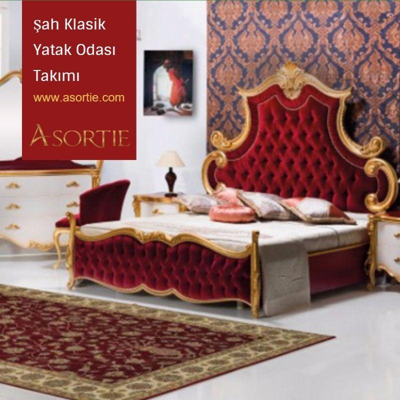 """Asortie Mobilya olarak; ince el işçiliği, kaliteli ve zengin malzeme, en yeni teknoloji ve özgün tasarımlardan oluşan koleksiyonlarımızın kalbine sanatı yerleştirdik. """"Şah Klasik Yatak Odası Takımı & Şah Classic Bedroom Set"""""""