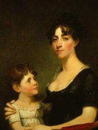 George Calvert's wife, Rosalie Stier en hun oudste dochter Carolina Maria, door Gilbert Stuart in 1804.