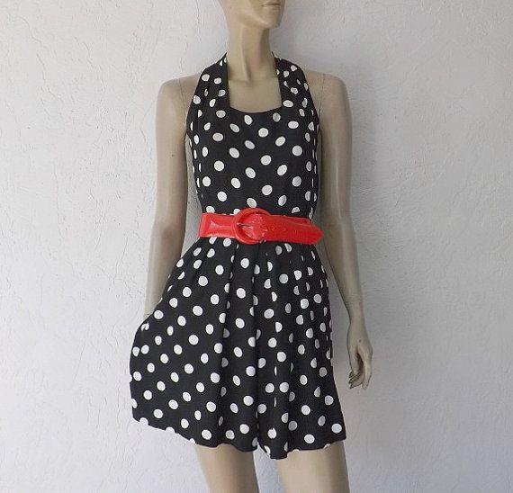 80's Skort/ Dress. Vintage Polka Dot Skort Dress by ...