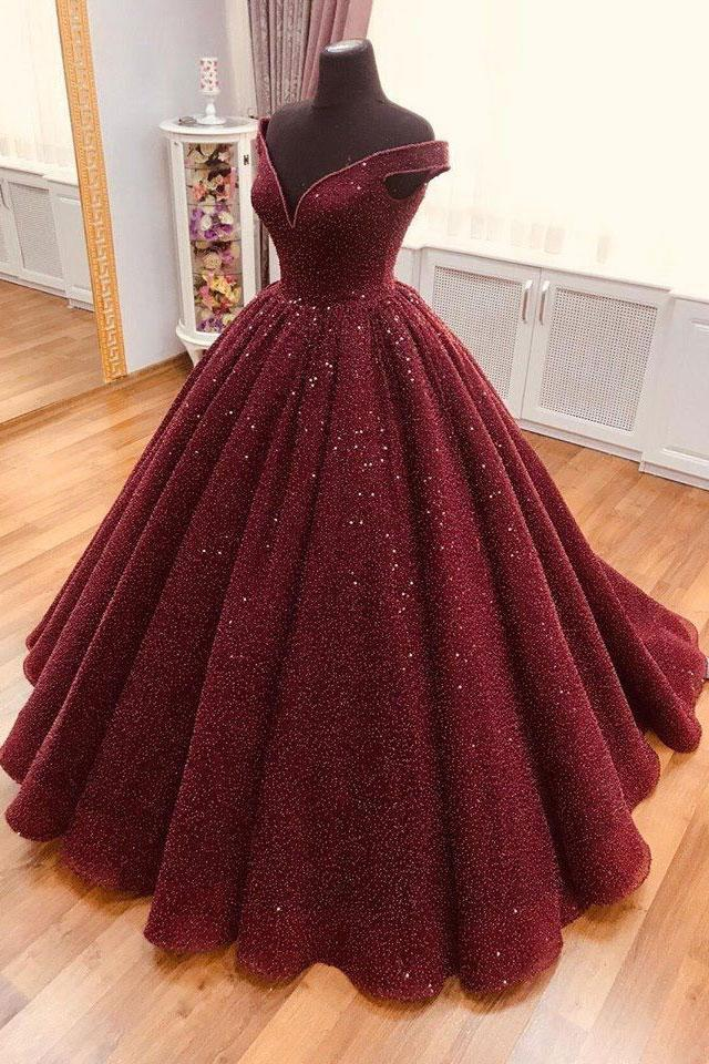 Burgundy Tulle V Neck Off Shoulder Long Lace Up Ball Gown, Formal Prom Dress