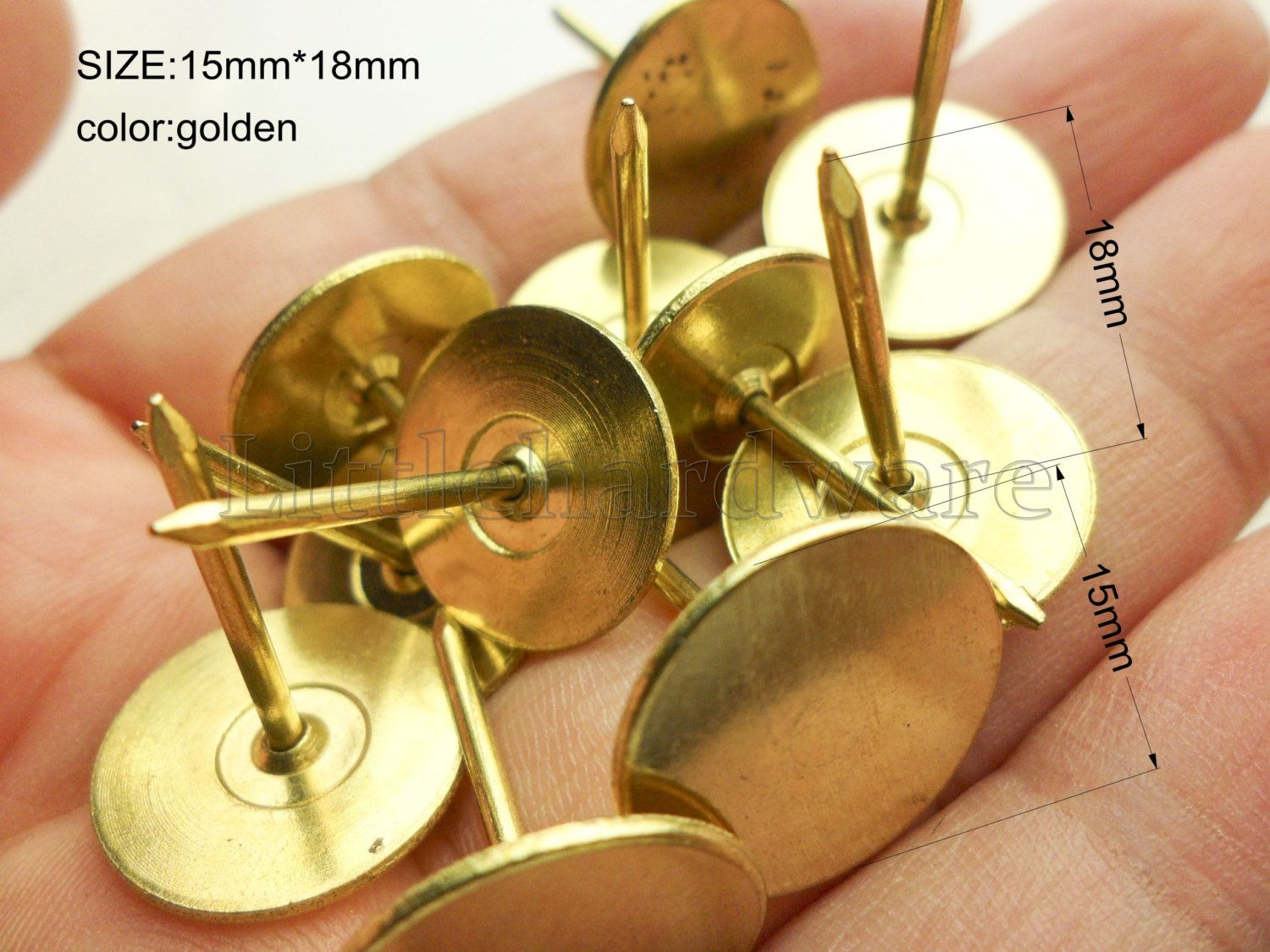 Golden color Round flat head upholstery tacks/thumb tacks/chair seat ...