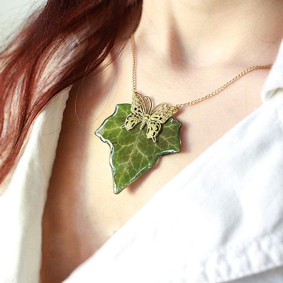 Leaf pendant necklace green resin jewelry gifts mother elven resin pendant with natural english ivy leaf with by sweetline mozeypictures Image collections